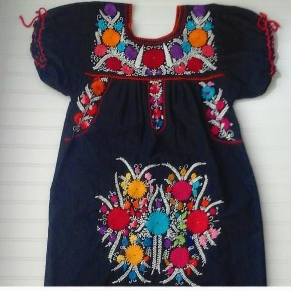 White Floral Embroidered Beaded Black Linen Frida Kahlo Style Vintage Skirt Size M
